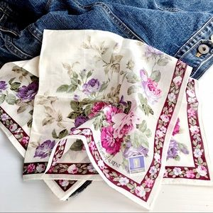 YSL Floral Full Color Print Silk Color Block Scarf